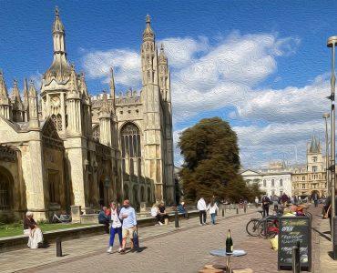 Tourists on King's Parade, Cambridge