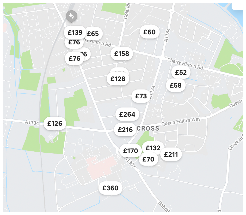 of Airbnb lettings in Cambridge